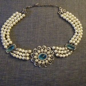 """Jewelry - """"1928"""" Faux Pearl & Gem Costume/Statement Necklace"""